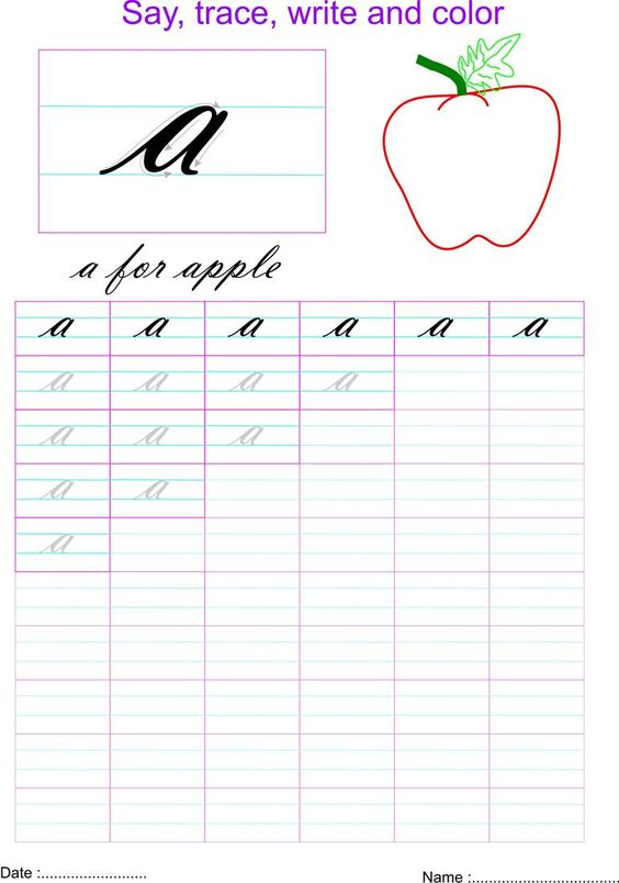 Number Names Worksheets : capital and small letters in cursive ...