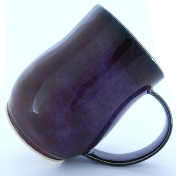Coffee Mug  Black and Purple  Studio Pottery by ZozPots on Etsy