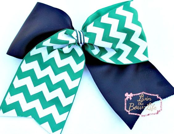 Hunter Green and White and Black Tic Toc Cheer Bow by LivinTheBowLife on Etsy