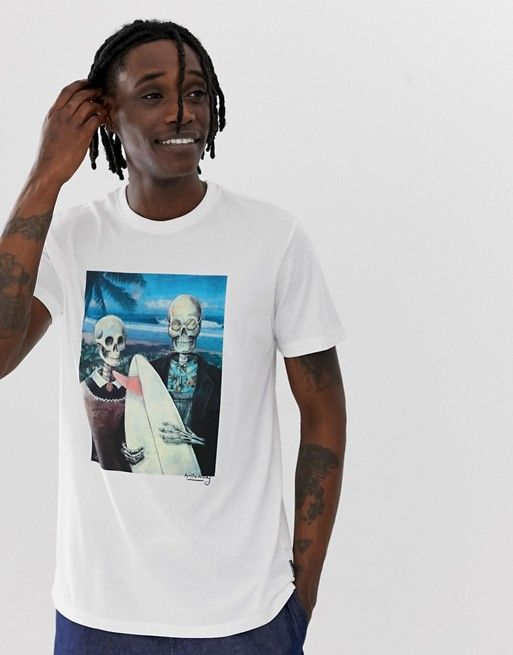 Billabong Hawaiin Gothic t-shirt in white | ASOS