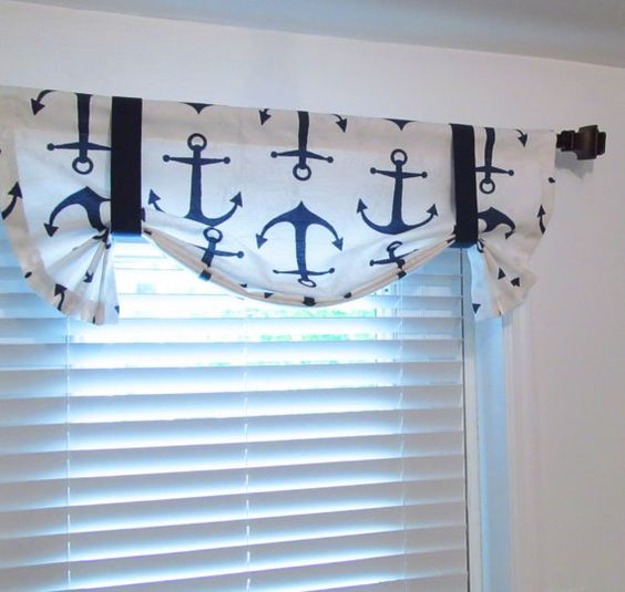 Navy Blue White Anchors Tie Up Curtain VALANCE by supplierofdreams ...