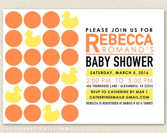 Mod Baby Shower Invitation with Mid Century Modern Dots & Rubber Ducks.  Retro orange & yellow printable, comes with customization.