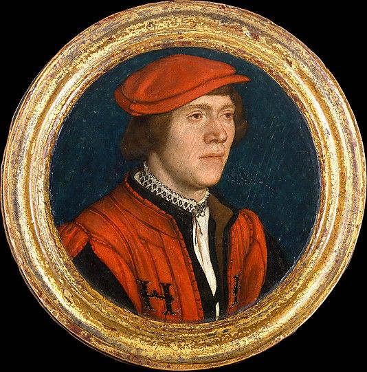Portrait of a Man in a Red Cap  Hans Holbein the Younger  (German, Augsburg 1497/98–1543 London) The sitter was apparently attached to the court of Henry VIII, as his livery is embroidered with the initials H[R] for Henricus Rex.    The frame is original and the reverse is painted black and decorated with engraved circles.