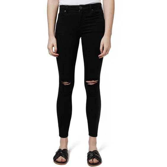 Petite Topshop 'Leigh' Ripped Skinny Jeans (£53) ❤ liked on ...