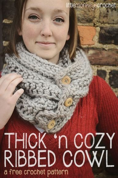 Thick 'n Cozy Ribbed Cowl Scarf | a free crochet pattern by Little ...