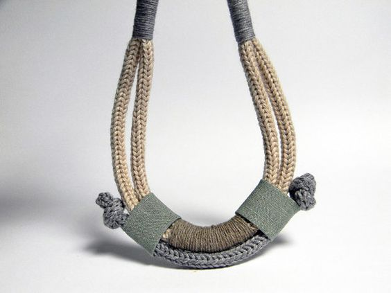 Statement necklace. Ethnic tribal necklace. Neutral by ylleanna