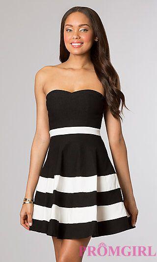 Black and White Short Strapless Dress at PromGirl.com ...