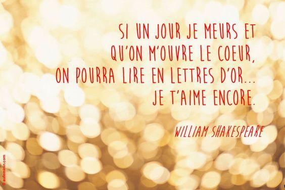 """""""Si un jour je meurs et qu'on m'ouvre le coeur, on pourra lire en lettres d'or... je t'aime encore."""" - [William Shakespeare]"""