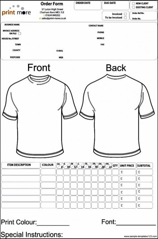 Apparel Order Form Template Order Form Template Free Intended For Blank T Shirt Order Form Template Di 2020 Kaos
