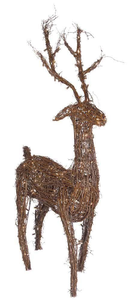48 grapevine standing reindeer led outdoor yard for Outdoor deer christmas decorations