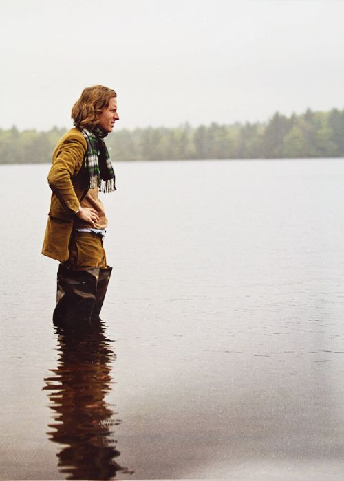 Wes Anderson on set of Moonrise Kingdom, what a genius