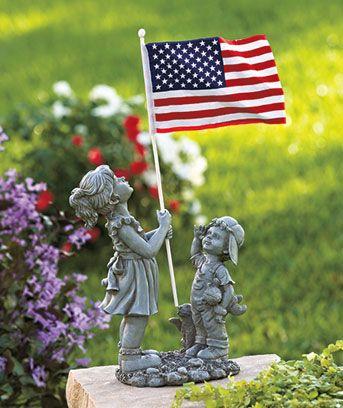 Patriotic Kids with Flag Statue Garden Patio Porch or Deck ...