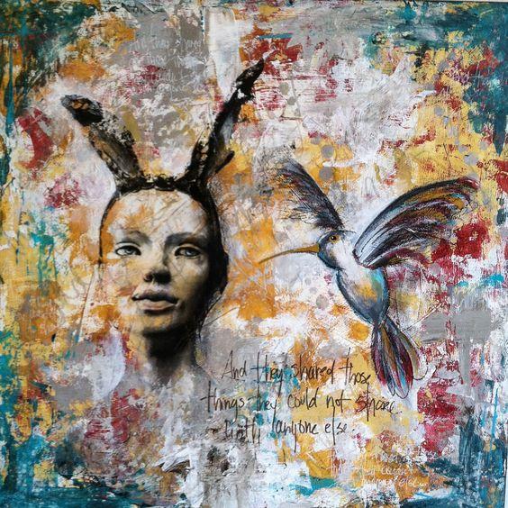 "Mixed media, 16""x16"" on panel, by Kelly Thiel. Birds, portrait, image transfer, acrylic, marker, oil pastel, Kelly Thiel Studio, mixed media art, mixed media painting"