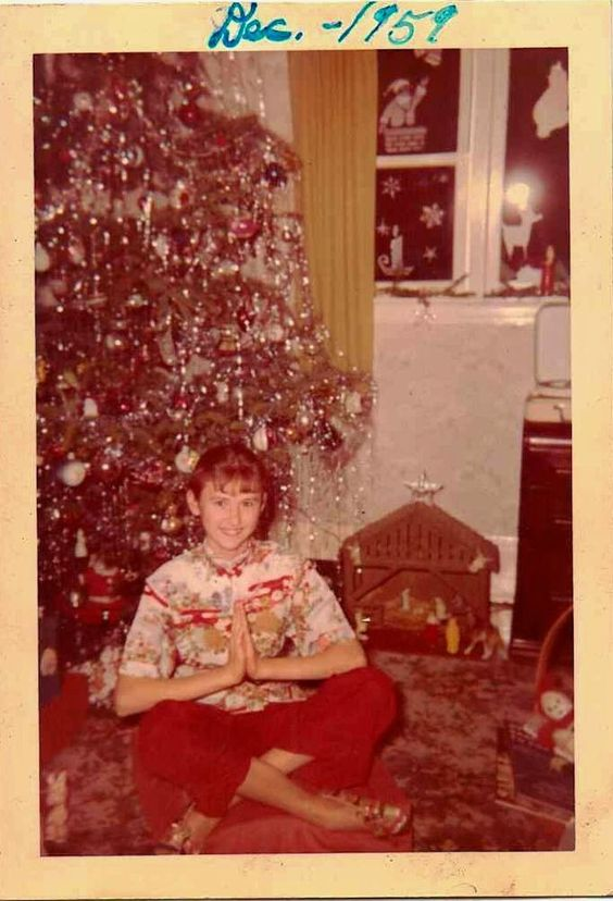Antique Vintage Photograph Christmas Tree Nativity Young Girl Praying