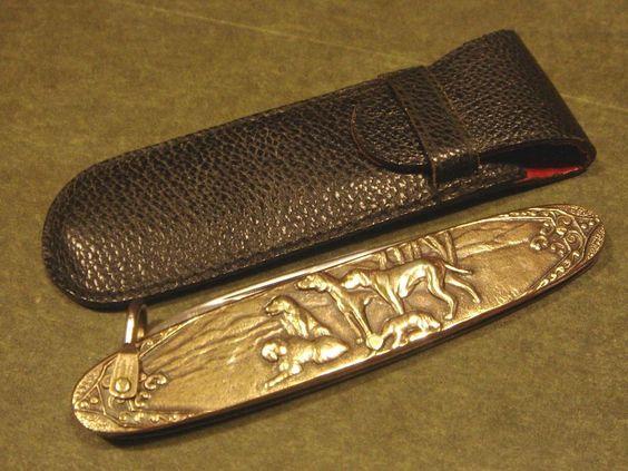 Arnex Solingen Germany Hunting Dog Brass Art Deco Vintage Pocket Fob Pen Knife #Arnex