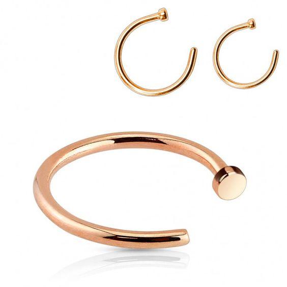 Surgical Steel Nose Hoop Ring Rose Gold Titanium PVD - Pierce of Mind