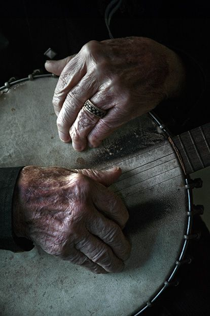 Ralph Stanley's fingers rest on his banjo, which has traveled everywhere from coal mining camps to gin joints to Carnegie Hall. Photo by Jim Herrington: