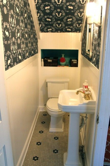 Lighting Basement Washroom Stairs: Under Stairs Powder Room