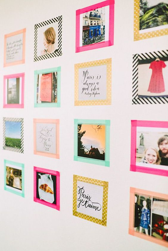 Want to keep some pictures in my dorm, but I DON'T want a bunch of frames lined up in my work space. Resorting to posting them on the wall using washi tape. :):