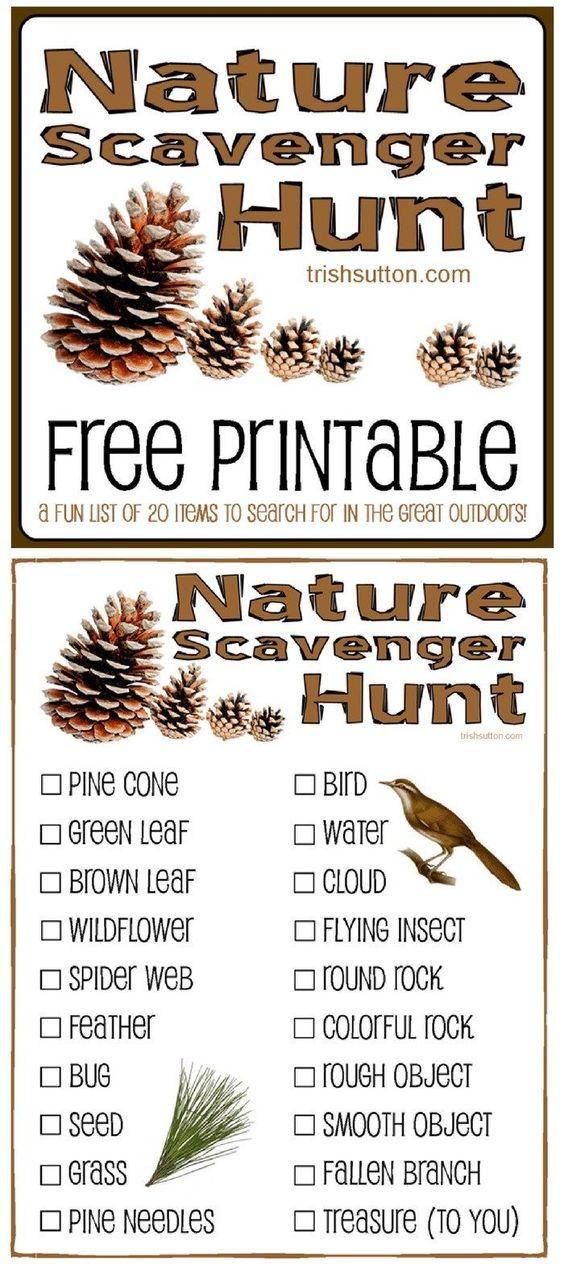 Nature Scavenger Hunt; Free Printable for Kids by Trish Sutton -  - #free #Hunt #Kids #Nature #Printable #Scavenger #Sutton #Trish