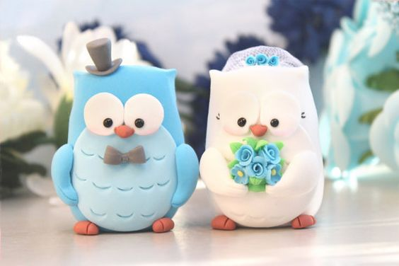 Custom Owls wedding cake toppers bride and groom by PassionArte