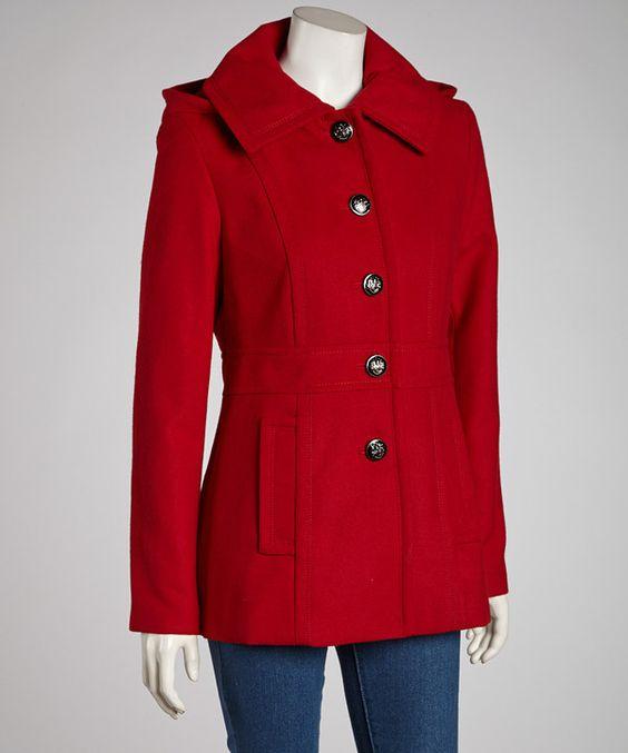 Look what I found on #zulily! kensie Red Removable Hood Jacket by kensie #zulilyfinds