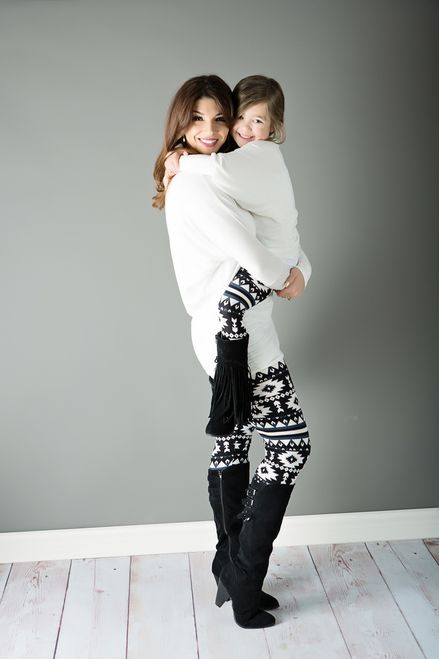 Mommy and Me Girls Black Navy Arrow Leggings - Ryleigh Rue Clothing by Modern Vintage Boutique: