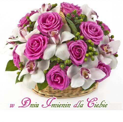 Kartka Pod Tytulem Wszystkiego Najlepszego Z Okazji Imienin Rose Flower Arrangements Rose Basket