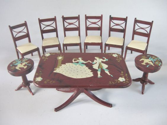Doll house miniature 1940s stenciled dining room furniture by renwal miniature toys and vintage - Dollhouse dining room furniture ...