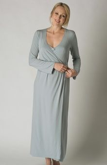 Beautiful sky blue long modal dressing gown from Grazia'lliani ...
