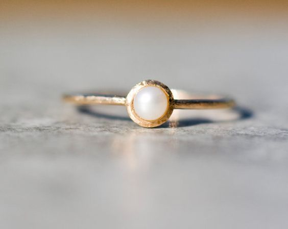 Tiny pearl ring in 14k gold pearl engagement ring solid by ARPELC