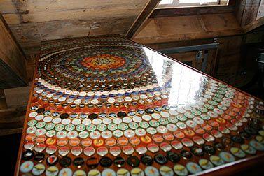 Bottle cap bar top bar pinterest creative design for Beer cap bar top