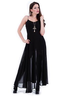 Stunning maxi dress from Gothic Attitude! This gorgeous full length black dress is made from a sheer material with a black slip, making it ideal for wearing throughout the Summer or on nights out.