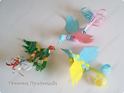 Paper weaving birds - Master class, crafts, product Weaving: Woven Paper birds.  Photo 1