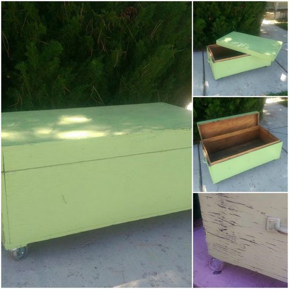 old wooden tool box made into a coffee table/toybox