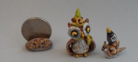 OOAK wizards owl and snail with potion bottle miniature Cottage Kitty