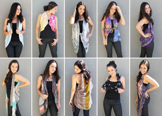Check out 10 ways to turn a scarf into a vest.: Scarf Ideas, Scarf Vests, Turn Scarves, Diy Clothes, Diy Vest, Diy Scarf