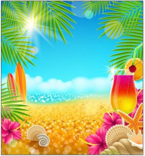 Summer Party Photography Backdrop Tropical Beach Backdrops For