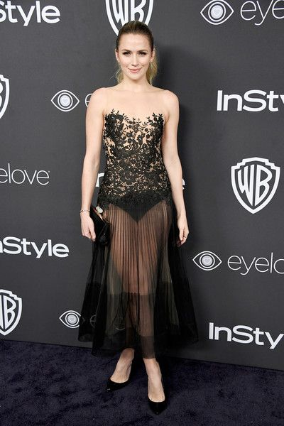 Shantel VanSanten: Lace dress with a tulle skirt (Rani Zakhem Spring 2016) | The 2017 InStyle and Warner Bros. 73rd Annual Golden Globe Awards Post-Party - Red Carpet Jan 8, 2017