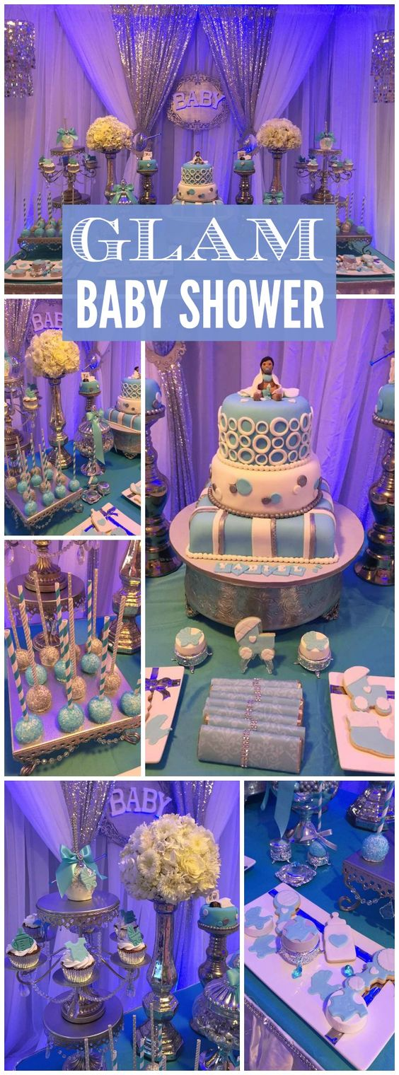 There's a baby boy on the way with this glitz baby shower! See more party ideas at CatchMyParty.com!