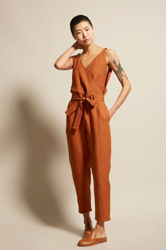 orange tie front loose linen jumpsuit gingerly witty