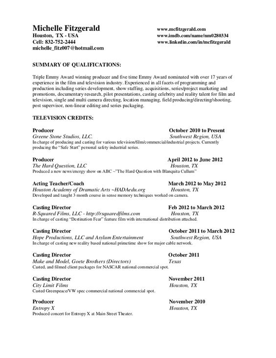 Michelle Fitzgerald wwwmcfitzgeraldHouston, TX - USA - film producer sample resume