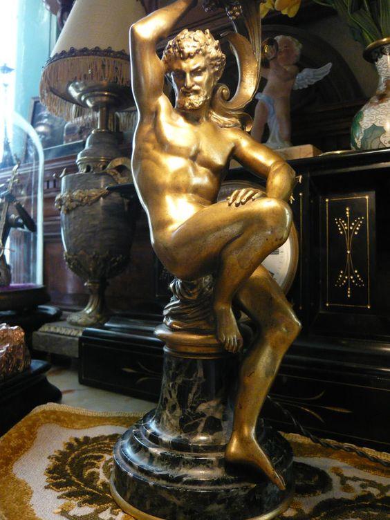 Faune sculpture bronze lampe F. Barbedienne 19ème
