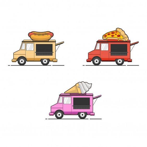 Food Truck Illustration Set Food Truck Festival Food Truck Illustration