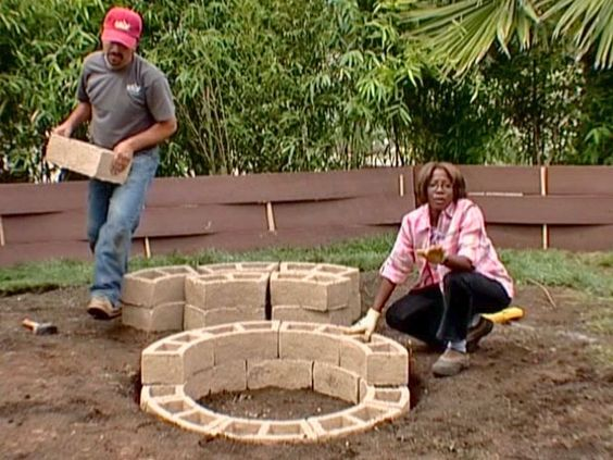 How to build a fire pit via DIY Network