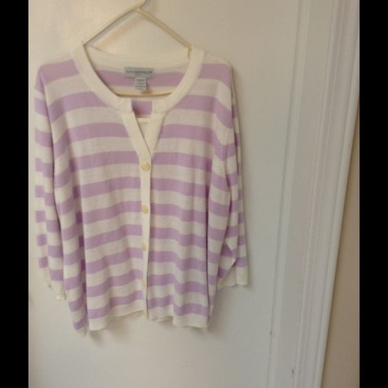 Sweaters This cute purple and white striped sweater has buttons ...