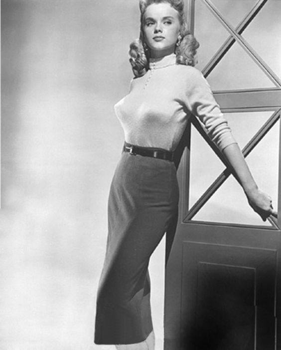 Tight Sweater and a long pencil skirt. Anne Francis 1960