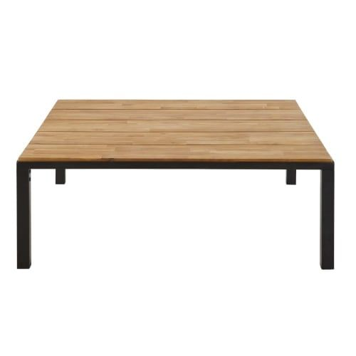 Table Basse De Jardin En Acacia Massif Et Metal Noir Table Basse