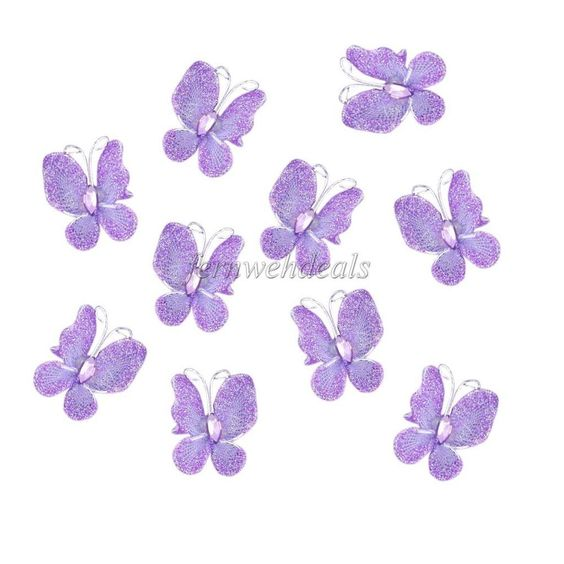 THEY COME IN BLUE 50x Glitter Mesh Stocking Diamante Butterfly Wedding Party Craft Decoration #NEW #Valentine039sDayWedding