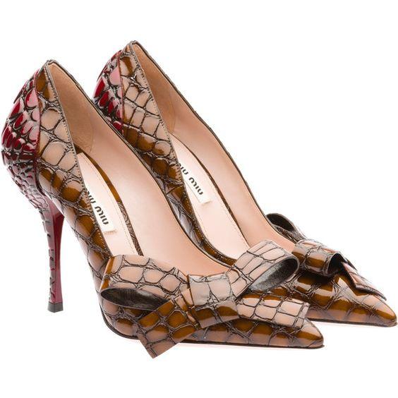 Miu Miu Pump (21 310 UAH) ❤ liked on Polyvore featuring shoes, pumps, heels, miu miu, oak brown, pointed-toe pumps, croc pumps, brown pumps, crocs shoes and miu miu pumps